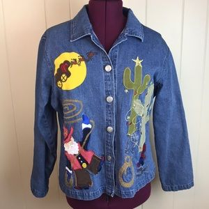 Tantrums Cowboy Christmas Appliqué Jean Shirt